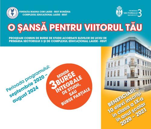 Primăria Sectorului 3 și Complexul Educaţional Laude-Reut vor acorda burse elevilor performanți din clasa a VIII-a
